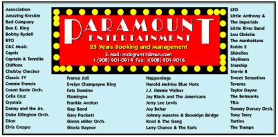 Paramount Entertainment, Talent Booking- Booking Entertainment - Music Television & Radio Industry, Booking Agency for actors - film TV music