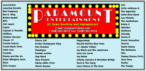 Paramount Talent provides live entertainment for corporate meetings, banquets, performing arts centers, casinos, hotels, special events, wedding receptions, night clubs, product launches, college events, trade shows, festivals & fairs, concerts, corporate Event Planners, Corporate Event Services, Corporate Event Specialists, unique Corporate Events, Corporate Entertainment Online, Corporate Entertainment Companies, Live Corporate Entertainment, Corporate Entertainment Events, Corporate Entertainment Packages, Business Events, State Fair Entertainment,
